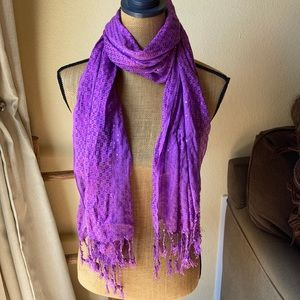 Purple Sequin Scarf with Tassels